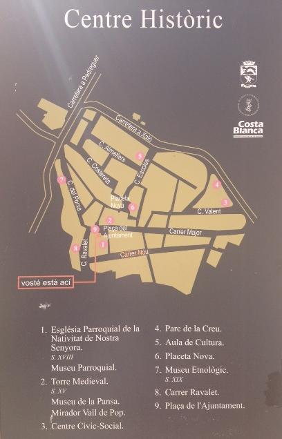 Panel ruta casco urbano de Alcalalí - Alcalalí turismo