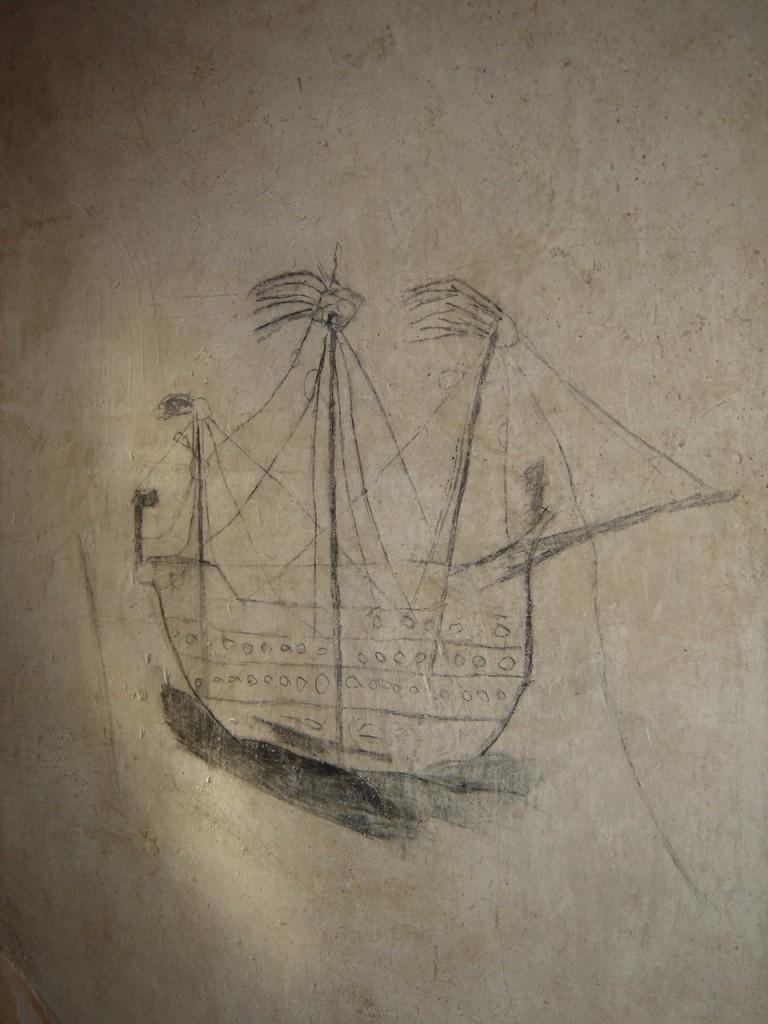 Galera con tres mástiles en la Torre medieval.