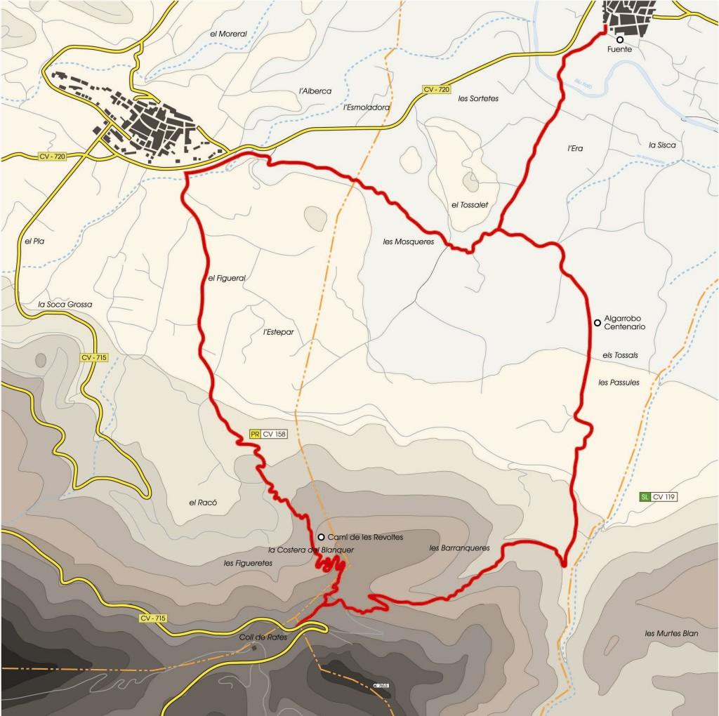 Mapa senderismo 9 de octubre - Alcalalí Turismo