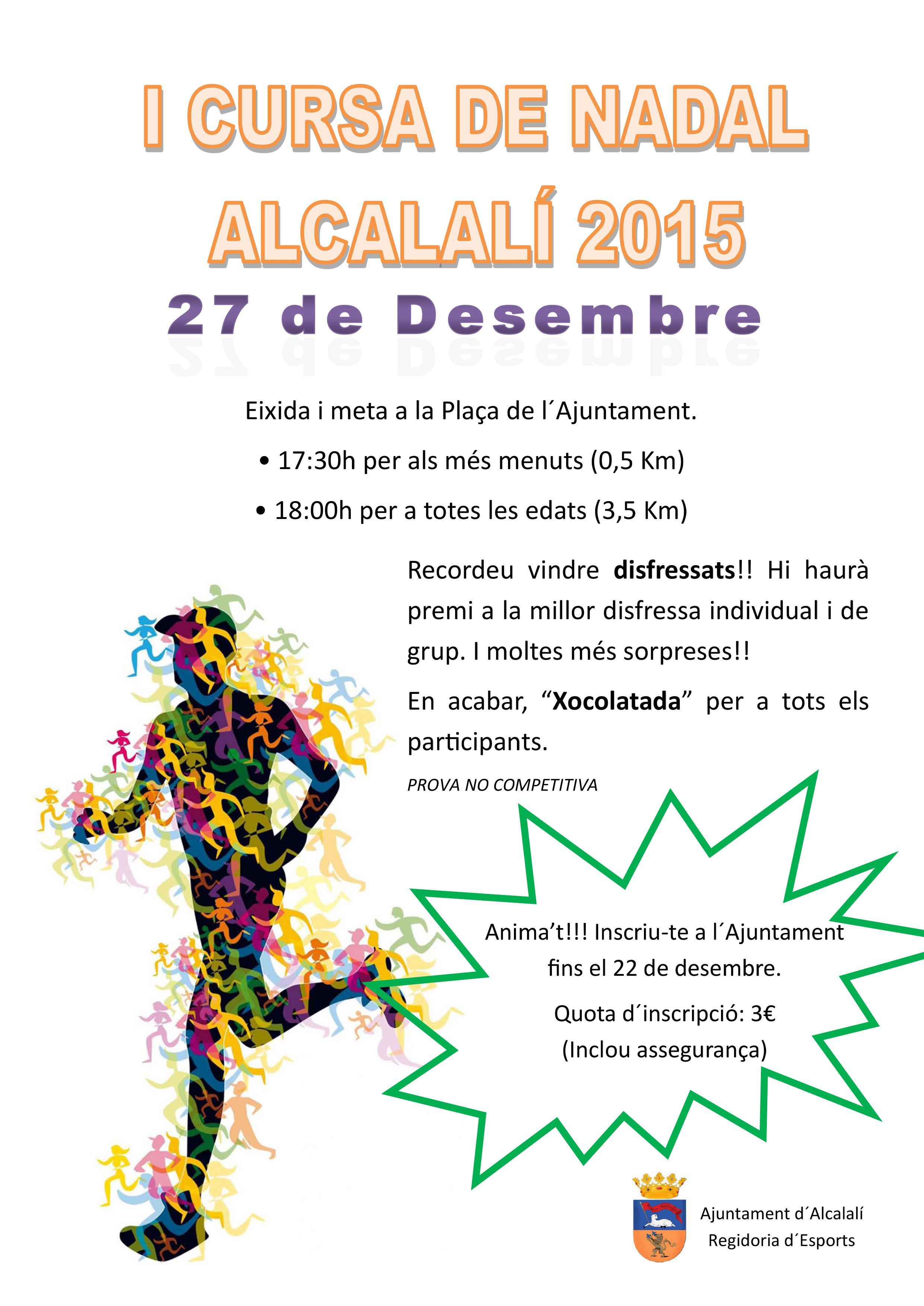 Cartel Cursa de Nadal 2015 - Alcalalí turismo