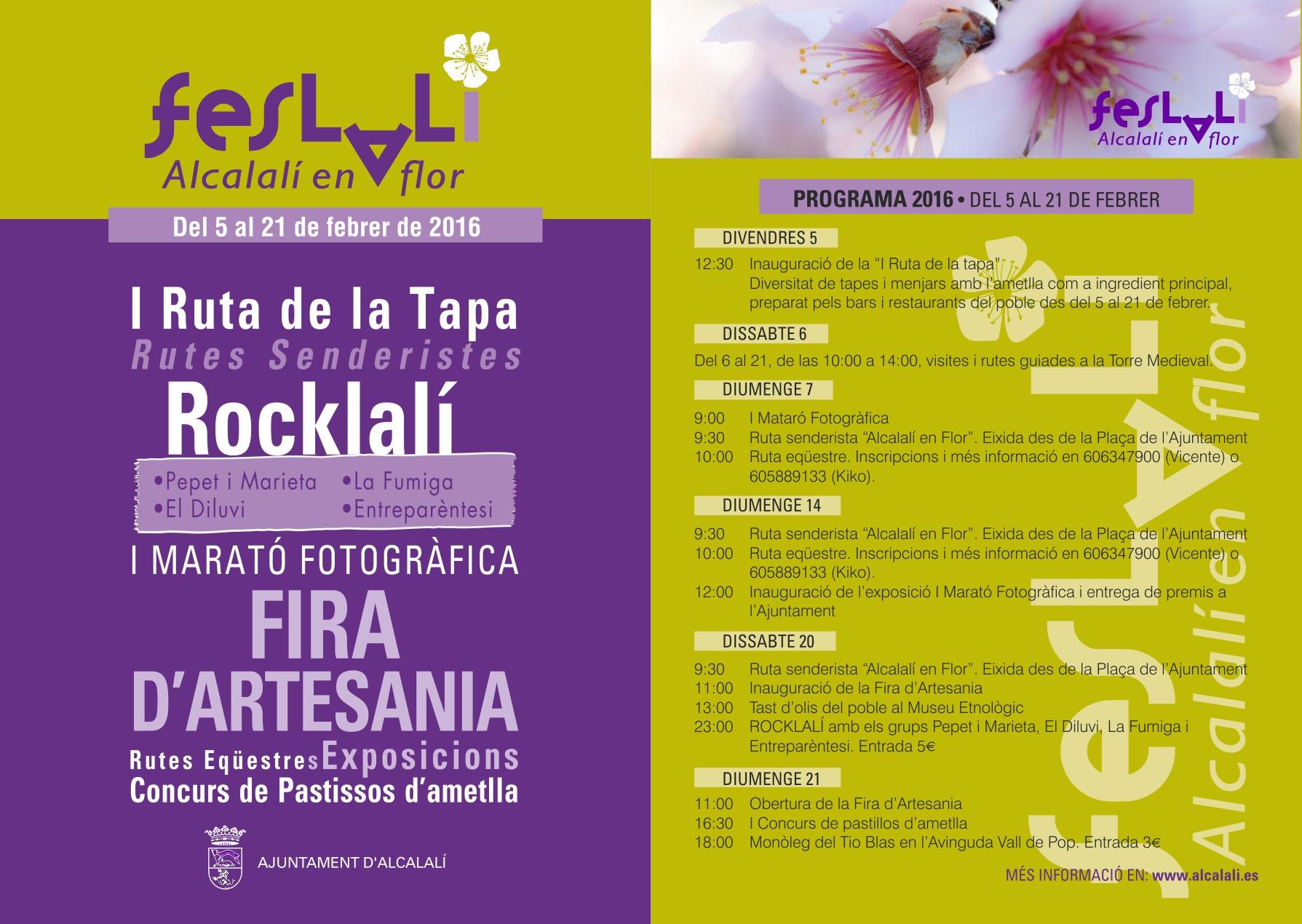 """Cartel y programación FESLALÍ """"Alcalalí en flor"""" - Alcalalí Turismo"""