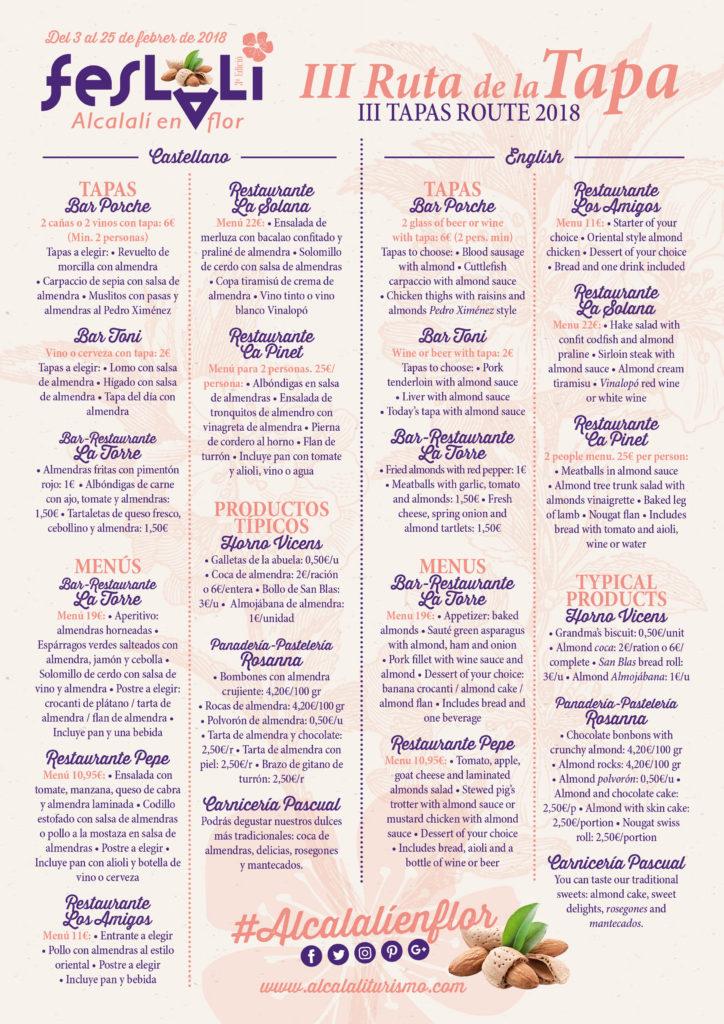 Propuestas III Ruta de la Tapa Feslalí - Alcalalí turismo
